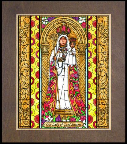 Wood Plaque Premium - Our Lady of Good Success by B. Nippert