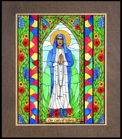 Wood Plaque Premium - Our Lady of Kibeho by B. Nippert