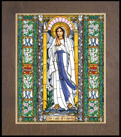 Wood Plaque Premium - Our Lady of Lourdes by B. Nippert