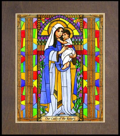 Wood Plaque Premium - Our Lady of the Rosary by B. Nippert