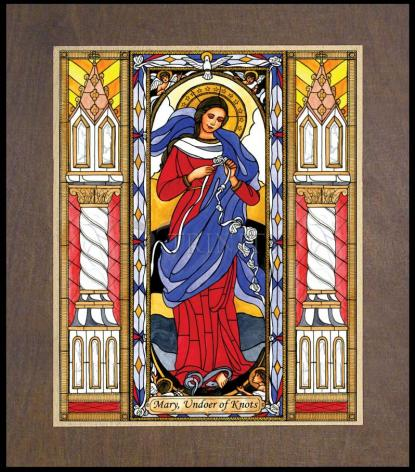 Wood Plaque Premium - Mary, Undoer of Knots by B. Nippert