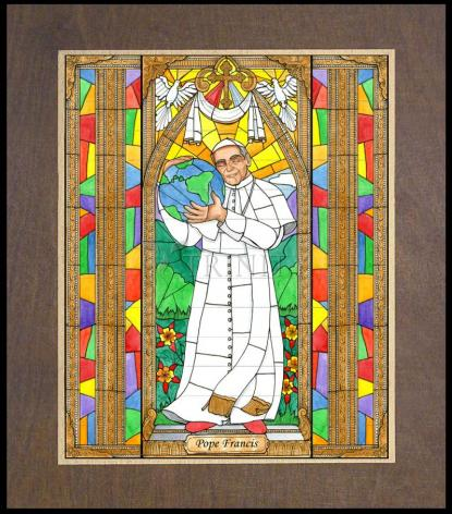 Wood Plaque Premium - Pope Francis by B. Nippert