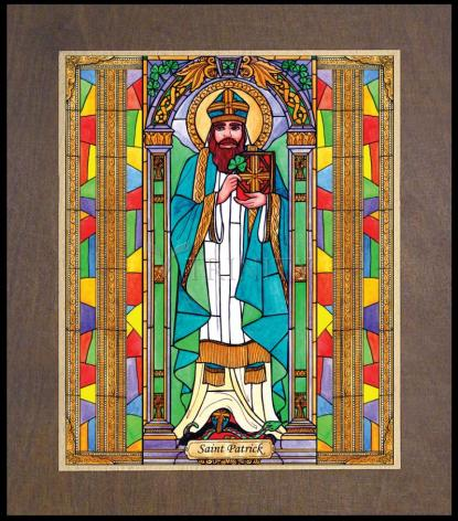Wood Plaque Premium - St. Patrick by B. Nippert