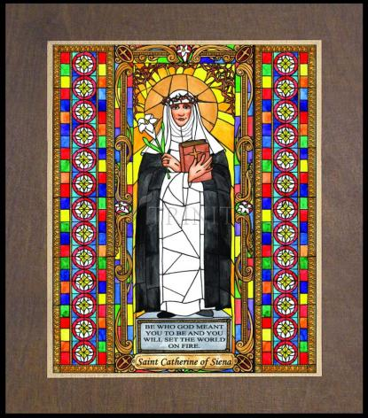 Wood Plaque Premium - St. Catherine of Siena by B. Nippert
