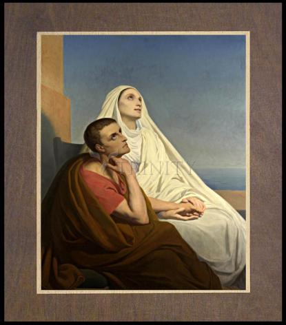 Wood Plaque Premium - Sts. Augustine and Monica by Museum Art