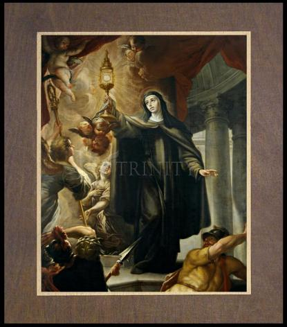 Wood Plaque Premium - St. Clare of Assisi Driving Away Infidels with Eucharist by Museum Art