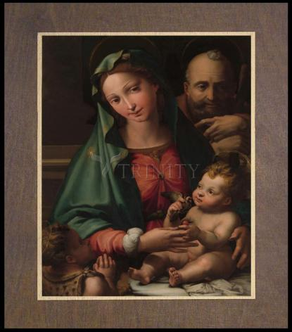 Wood Plaque Premium - Holy Family with Infant St. John the Baptist by Museum Art