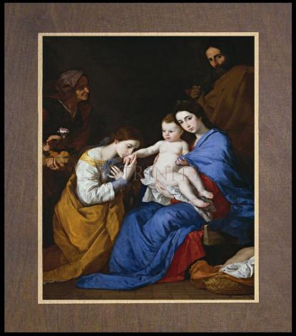 Wood Plaque Premium - Holy Family with Sts. Anne and Catherine of Alexandria by Museum Art
