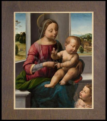 Wood Plaque Premium - Madonna and Child with Young St. John the Baptist by Museum Art