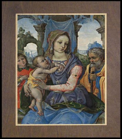 Wood Plaque Premium - Madonna and Child with St. Joseph and Angel by Museum Art