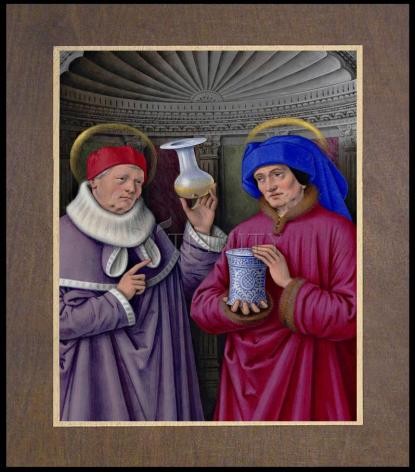 Wood Plaque Premium - Sts. Cosmas and Damian by Museum Art