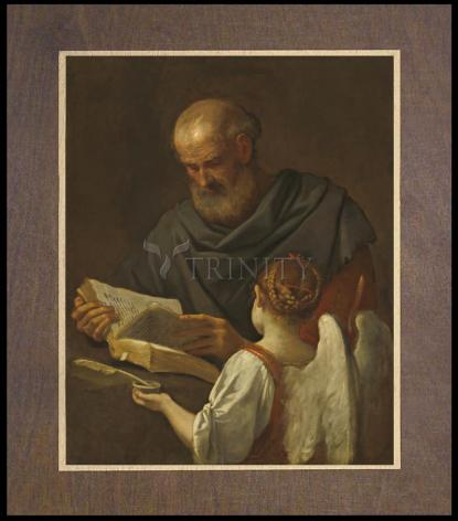 Wood Plaque Premium - St. Matthew and Angel by Museum Art
