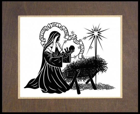 Wood Plaque Premium - St. Bernadette of Lourdes - Manger by D. Paulos