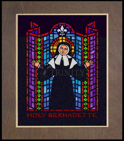 Wood Plaque Premium - St. Bernadette of Lourdes - Window by D. Paulos