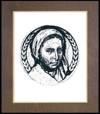 Wood Plaque Premium - St. Bernadette of Lourdes - Pen and Ink by D. Paulos