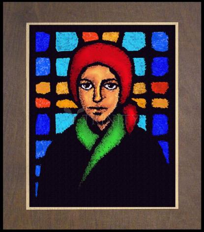 Wood Plaque Premium - St. Bernadette of Lourdes - Stained Glass by D. Paulos