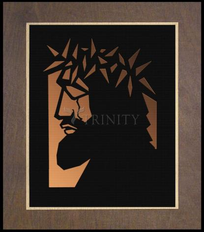 Wood Plaque Premium - Christ Hailed as King - Brown Glass by D. Paulos