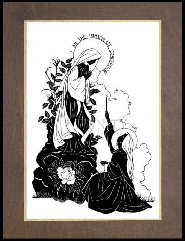 """Wood Plaque Premium - Our Lady and St. Bernadette of Lourdes - """"I Love Thee, Madame""""  by D. Paulos"""