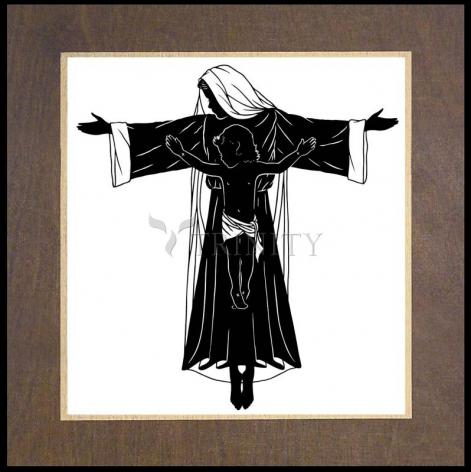 Wood Plaque Premium - Mary's Cross by D. Paulos