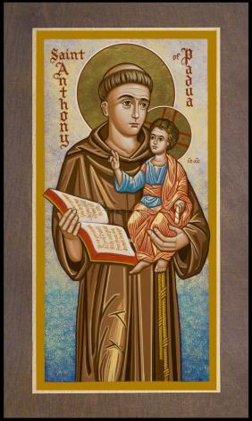 Wood Plaque Premium - St. Anthony of Padua by J. Cole