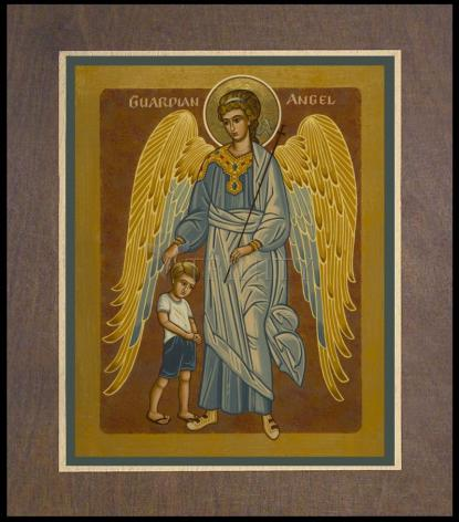 Wood Plaque Premium - Guardian Angel with Boy by J. Cole