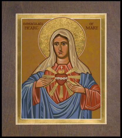 Wood Plaque Premium - Immaculate Heart of Mary by J. Cole