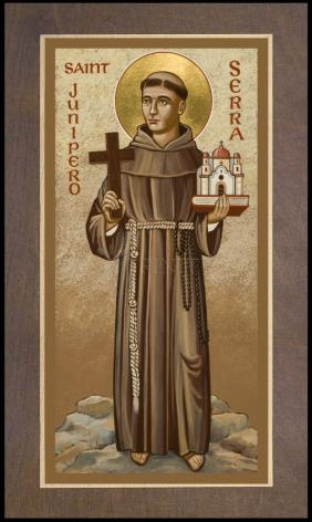 Wood Plaque Premium - St. Junipero Serra by J. Cole