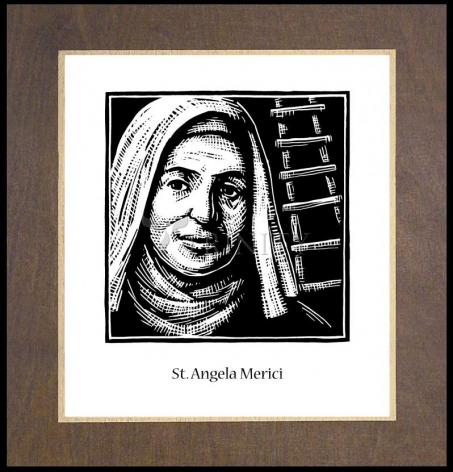 Wood Plaque Premium - St. Angela Merici by J. Lonneman