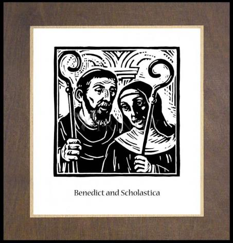 Wood Plaque Premium - Sts. Benedict and Scholastica by J. Lonneman