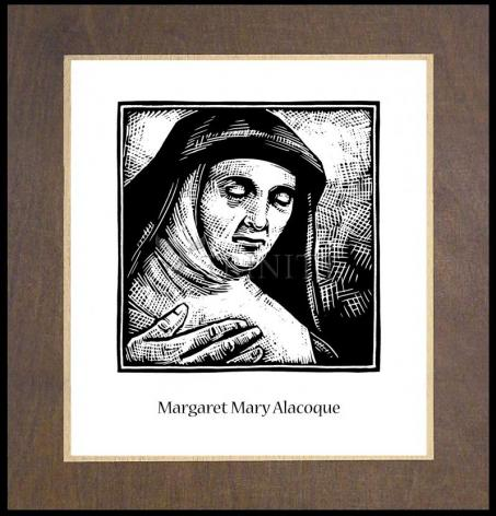 Wood Plaque Premium - St. Margaret Mary Alacoque by J. Lonneman