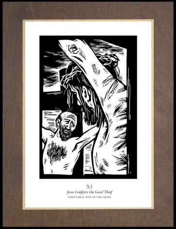 Wood Plaque Premium - Scriptural Stations of the Cross 11 - Jesus Comforts the Good Thief by J. Lonneman