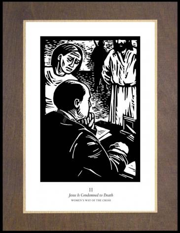Wood Plaque Premium - Women's Stations of the Cross 02 - Jesus is Condemned to Death by J. Lonneman