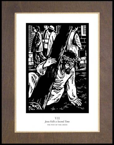 Wood Plaque Premium - Traditional Stations of the Cross 07 - Jesus Falls a Second Time by J. Lonneman