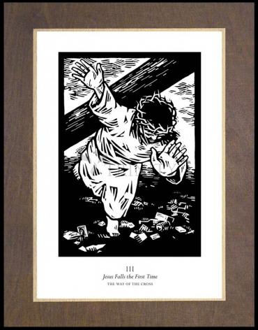 Wood Plaque Premium - Traditional Stations of the Cross 03 - Jesus Falls the First Time by J. Lonneman