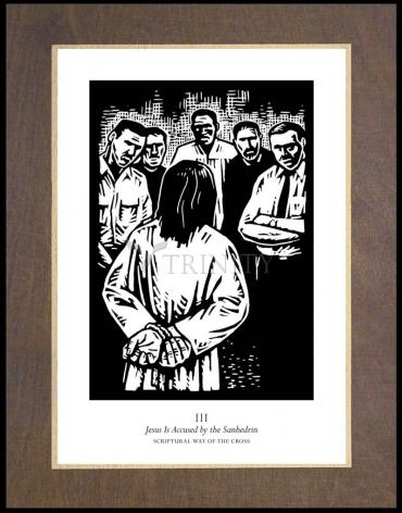 Wood Plaque Premium - Scriptural Stations of the Cross 03 - Jesus is Accused by the Sanhedrin by J. Lonneman