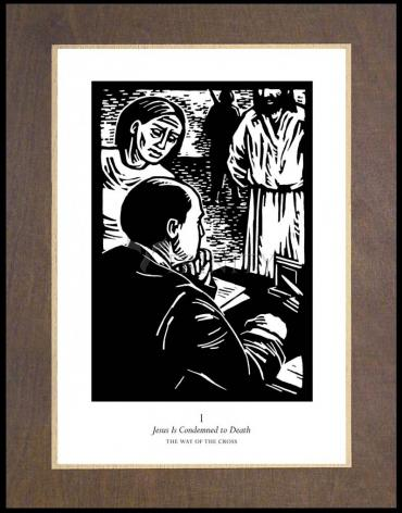 Wood Plaque Premium - Traditional Stations of the Cross 01 - Jesus is Condemned to Death by J. Lonneman