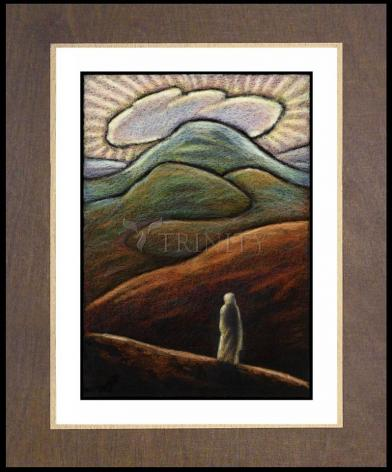 Wood Plaque Premium - Lent, 1st Sunday - Jesus in the Desert by J. Lonneman