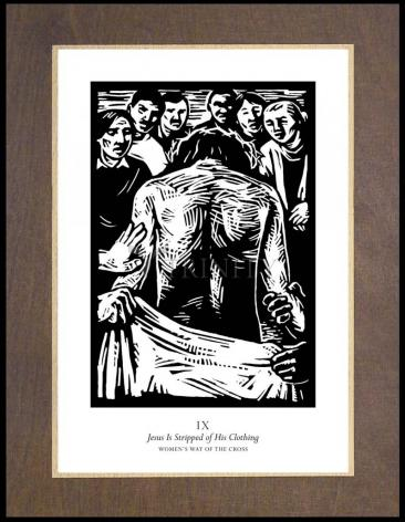 Wood Plaque Premium - Women's Stations of the Cross 09 - Jesus is Stripped of His Clothing by J. Lonneman