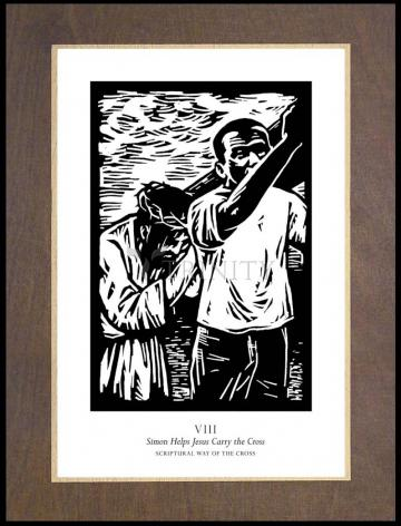 Wood Plaque Premium - Scriptural Stations of the Cross 08 - Simon Helps Jesus Carry the Cross by J. Lonneman