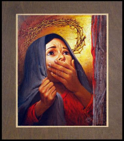 Wood Plaque Premium - Mary at the Cross by L. Glanzman