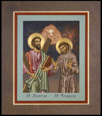 Wood Plaque Premium - Sts. Andrew and Francis of Assisi by L. Williams