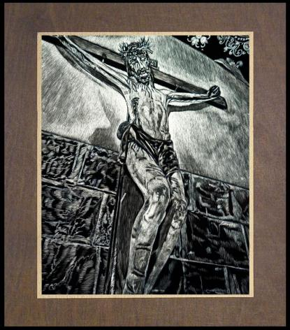 Wood Plaque Premium - Crucifix, Coricancha, Peru by L. Williams