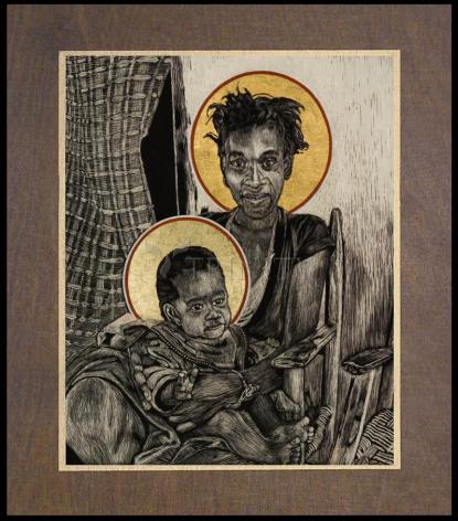 Wood Plaque Premium - Christmas Madonna - Haiti by L. Williams