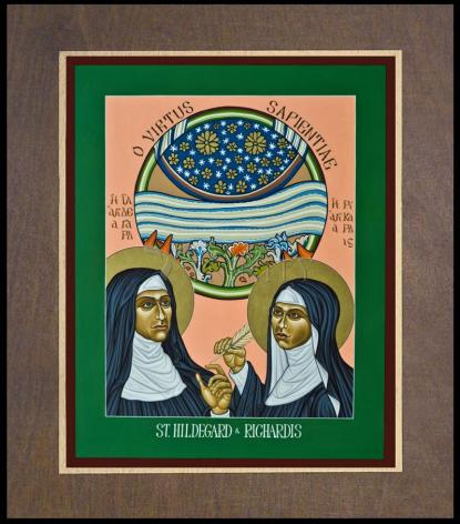 Wood Plaque Premium - St. Hildegard of Bingen and her Assistant Richardis by L. Williams