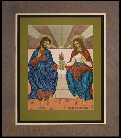 Wood Plaque Premium - Jesus and Mary Magdalene by L. Williams
