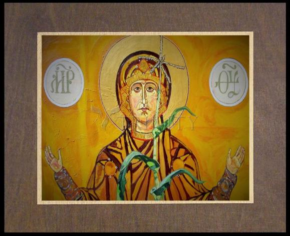Wood Plaque Premium - Our Lady of the Harvest by L. Williams