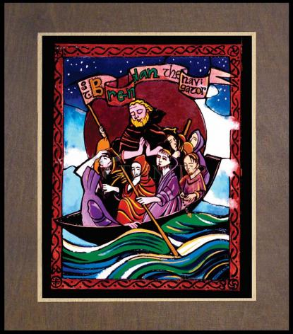 Wood Plaque Premium - St. Brendan the Navigator by M. McGrath