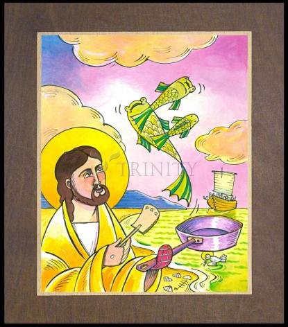 Wood Plaque Premium - Jesus: Fish Fry With Friends by M. McGrath