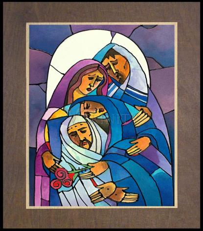 Wood Plaque Premium - Stations of the Cross - 14 Body of Jesus is Laid in the Tomb by M. McGrath