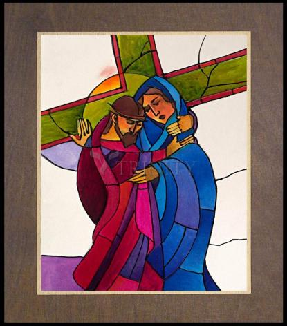Wood Plaque Premium - Stations of the Cross - 04 Jesus Meets His Sorrowful Mother by M. McGrath